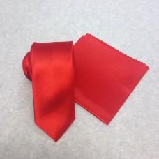 Smal röd slips och nösduk(FRI FRAKT)