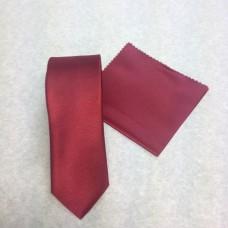 Smal vinröd slips och nösduk(FRI FRAKT)