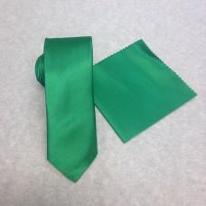 Smal grön slips och näsduk (FRI FRAKT)