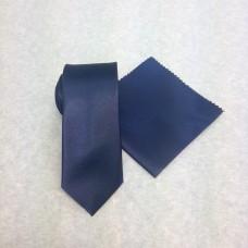 Smal marinblå slips och näsduk (FRI FRAKT)